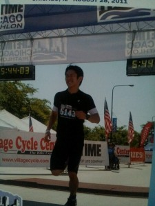 At finish line: symbolizing the end of the escape journey
